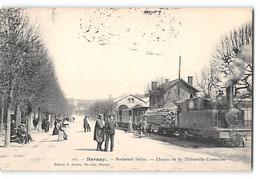CPA 27 Bernay Boulevard Dubus Le Train Tramway - Transport Du Bois - Bernay