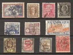 Monde - Perfins - Perforés - Petit Lot De 11° - Argentine - Canada - USA - Japon - Tunisie - Soudan - Australie - Strait - Kilowaar (max. 999 Zegels)