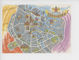 Amsterdam - Géographique - Plan (cp Vierge) - Amsterdam