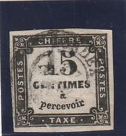 /// FRANCE ///   TAXE  N° 3B Côte 25€ - Variété  IMPRESSION DEFECTUEUSE Du 1 Et Cts Ou Usure ??? - 1859-1955 Afgestempeld