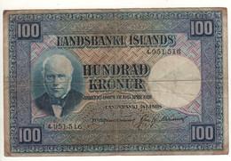 ICELAND  100 Kronur   P35a   ( L.  15.4.1928 Jón Sigurðsson On Left Side - Flock Of Sheep At Back ) - Iceland