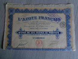 1 ACTION DE 100 FRANCS-L'AZOTE FRANCAIS)de 1926 - Elektrizität & Gas