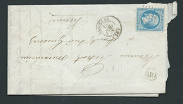 YVERT N° 22  / LAC Obl. Gc 1844 -  Issigeac     Dordogne   - 13/07/1868  - Phi25910 - 1849-1876: Periodo Classico