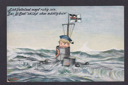 CPA Sous Marin Allemagne Germany Fantaisie Illustrateur Non Circulé - Submarines