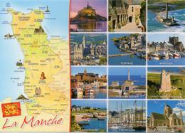 CPM Géographique - 50 LA MANCHE. Les Sites Touristiques, Multi Vues, Blason - TBE - Maps