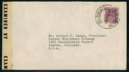 Mexico 1943 Cover From Buzones To Denver USA Label Censorship - Mexico