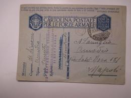 Cartolina Postale Forze Armate FRANCHIGIA 09.09.1941 52°Battaglione Territ.Distaccamento Benevento II Compagnia - Military Mail (PM)