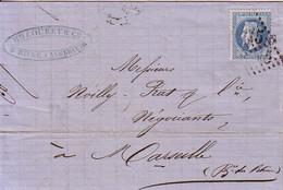 ALGERIE - BONE - EMPIRE N°29 OBLITERATION GC5015 - ENTETE H.COUTRET & Cie TOULON - CETTE - BONE - PHILIPPEVILLE - 21-4-1 - 1849-1876: Periodo Classico