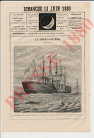 Gravure De 1880 Le Great Eastern Bateau à Aube Roue Ship Paquebot Insecticide Galzy Plus Petit Livre Du Monde 241/20 - Non Classés