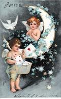 """ANGELOTS  DANS  UN  QUARTIER  DE  LUNE  ORNÉ  DE  MYOSOTIS  -  CPA   GAUFRÉE  """"  AMITIÉ  """"( 21 / 1 / 276  ) - Angels"""