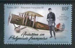 """TIMBRE** De 2017 De POLYNESIE """"80 F -  AVIATION EN POLYNESIE Henri Cadousteau Et Le Salmson 2A2"""" - Unclassified"""