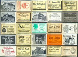 25 Alte Gasthausetiketten Aus Deutschland Sortiert Nach Alter Postleitzahl: 4700-4715 #268 - Matchbox Labels