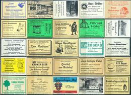 25 Alte Gasthausetiketten Aus Deutschland Sortiert Nach Alter Postleitzahl: 4710-4755 #269 - Matchbox Labels