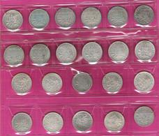Lot De 22 Monnaies Françaises 1 Franc Argent Semeuse Millésimes Différents G467 - H. 1 Franco