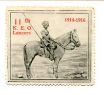 ROYAUME-UNI - VIGNETTES DE GUERRE DELANDRE :  1914-1916 - 11 Th K. E. O. Lancers - Vignette Militari