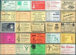 25 Alte Gasthausetiketten Aus Deutschland Sortiert Nach Alter Postleitzahl: 4618-4702 #281 - Matchbox Labels