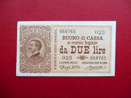 Buono Di Cassa A Corso Legale Lire Due N. 868765 Regno D'Italia Fior Di Stampa - Unclassified