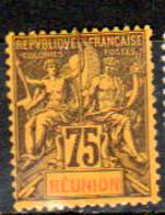 Réunion 1892 Type Groupe 75c Violet-noir Sur Jaune  N° YT  43 Neuf* - Nuovi