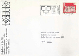 "Motiv Brief  ""Tschudy, Offsetdruck, St.Gallen""  (Flagge OLMA)         1972 - Cartas"