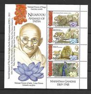 Niuafo'ou 2016 Mahatma Gandhi - Animals MS MNH - Tonga (1970-...)