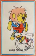 """1966 Inghilterra Campionati Del Mondo Calcio - Cartolina Con La Mascotte E Annullo FDC Del Francobollo """"England Winners"""" - 1966 – Engeland"""