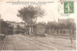 ST-JEAN-BONNEFONDS (42) Place St-Charles - Arrivée Du Tramway - Le Bureau De Poste En 1913 - Sonstige Gemeinden