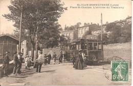 ST-JEAN-BONNEFONDS (42) Place St-Charles - L'Arrivée Du Tramway En 1911 - Sonstige Gemeinden