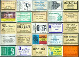 25 Alte Gasthausetiketten Aus Deutschland Sortiert Nach Alter Postleitzahl: 4300-4784 #301 - Matchbox Labels