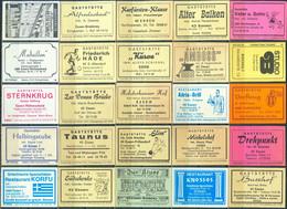 25 Alte Gasthausetiketten Aus Deutschland Sortiert Nach Alter Postleitzahl: 4200-4300 Essen #302 - Matchbox Labels
