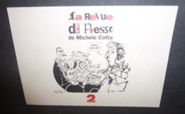 """Carton Invitation """"La Revue De Presse De Michèle Cotta - France 2"""" Illustration : Cabu Loup Wolinski - Cabu"""