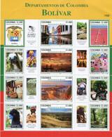 Lote 2020-20P, Colombia, 2020, Pliego, Sheet, Departamento De Bolivar, Bird, Monkey, Coat Of Arms, Fisherman, Dance - Colombia