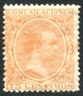 Ed 225* 1889 Alfonso XIII Pelón 75 Cts Naranja En Nuevo - Nuevos