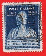 1949 (612) La Pila Di Volta Lire 50 Usato Dent 14 1/4 X 14 1 /4 - Leggi Il Messaggio Del Venditore - 1946-60: Afgestempeld
