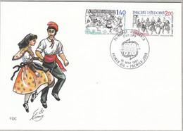 Andorra-frz. FDC Nr. 313 -314 (1 FDC) - Europa: Folklore: Bärentanz / Volkstanz: El Contrapas - Covers & Documents