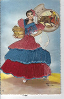 ANDALUCIA - ESPAGNE - Belle Carte Brodée - Costume Régional - Borduurwerk