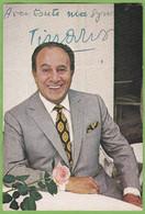 Belle Carte Publicitaire TINO ROSSI Signature Autographe 1973 Discographie Au Dos - Singers & Musicians