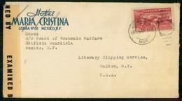 Mexico 1943 Cover From Cuernavaca To Walton USA Label Censorship - Mexico