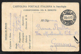 Italy - 1915 Military Postcard - Ufficio PM Speciale B To Genova - Military Mail (PM)
