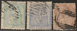 1871. º Edifil: ANTILLAS 22/24. ALEGORIA DE LA REPUBLICA - Cuba (1874-1898)