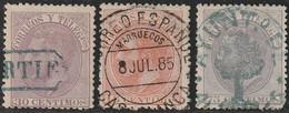 1882. º Edifil: 210/12. ALFONSO XII - Oblitérés