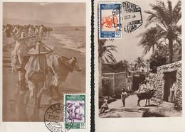 1953-TARJETAS MAXIMAS-Edifil: MARRUECOS 384, 386. Dos Tarjetas. SIN CIRCULAR - Spanish Morocco