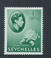 Seychelles 1938 KGVI 3 Cent Green Tortoise Fine MLH - Seychellen (...-1976)