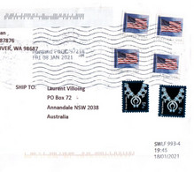 (FF 30 A) (Large) Cover Posted From USA To Australia During COVID-19 Pandemic - Many Postmarks - Still Missed 1 Stamp ! - Cartas