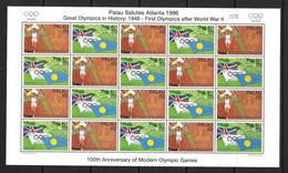 PALAU 1996 FEUILLET JO ATLANTA  YVERT N°925/28 NEUF MNH** - Palau