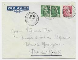 GANDON 5FRX2+3FR LETTRE AVION PARIS 94 7.6.1946 POUR PASSAGER A BORD ESERANCE PARTANT MADAGASCAR PORT DE DJIBOUTI - 1945-54 Marianne (Gandon)