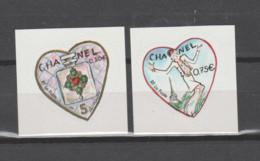 FRANCE / 2004 / Y&T N° 3632B/3633B ** Ou AA 38/39 ** : Cœurs Chanel/Lagerfeld (2 TP Adhésifs De Feuille) X 1 Paire - Adhesive Stamps