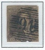 COB  1  Oblitérations Bureaux De Perception  P91 - Pecq - 1849 Hombreras