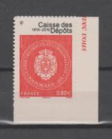 FRANCE / 2016 / Y&T N° AA 1269A ** : Caisse Des Dépôts Adhésif (TP Issu Du Feuillet F1269A) X 1 CdF Inf D - Adhesive Stamps