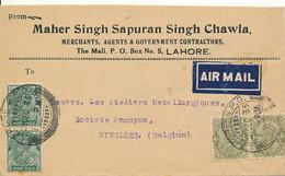 Air Mail Inde, Lahore 21 DEC 35 Via Paris 27 XII 1935 Vers Nivelles Verso - Gagnez Du Temps, Répondez Par Avion - Posta Aerea