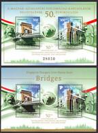 Cavenagh BRIDGE BRIDGES Chain Danube River / Joint Issue BLOCK Singapore Hungary 2020 - MNH - Emissioni Congiunte